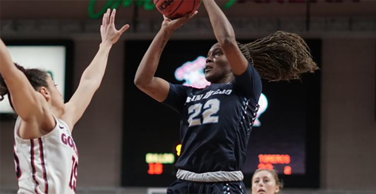 Maya Hood takes a shot during Tuesday afternoon's West Coast Conference Tournament title game against Gonzaga. Hood scored 23 points in USD's 79-71 loss.