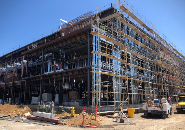 Construction on the 72,000-square-foot Knauss Center for Business Education is coming along.