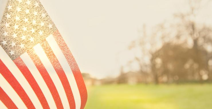 us flag on grassy backdrop