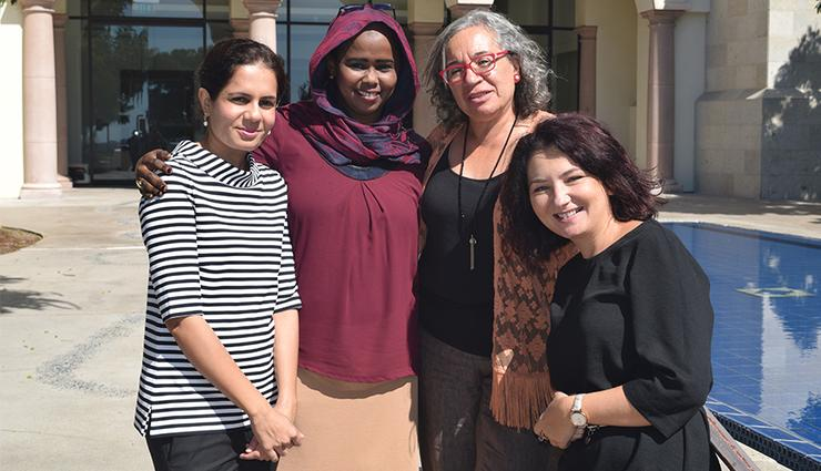 The 2018 cohort of Women PeaceMakers, left to right: Pakistan's Mariam Yazdani, Amira Abdulrahman Hussein Timan from Sudan, Rosa Emilia Salamanca of Colombia and Eurasia's Roxana Cristescu.