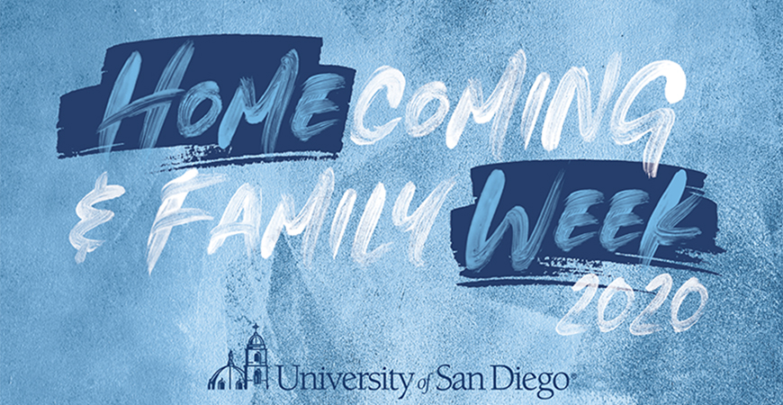 The University of San Diego's annual Homecoming and Family festivities are Oct. 13-18.  Join us virtually for President Harris' address, alumni talks, casino night, Big Blue Bash, Mass and more!