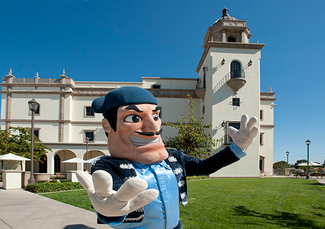 diego torero in front of student life pavilion