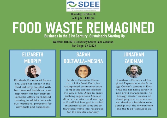 Flyer for Food Waste Reimagined Event.  Includes pictures of 2 women and 1 man who are speaking at the event.