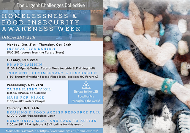 Homelessness and Food Insecurity Awareness Week flyer with events dates and information