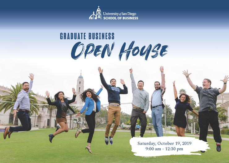 Graduate Business Open House flyer with people jumping
