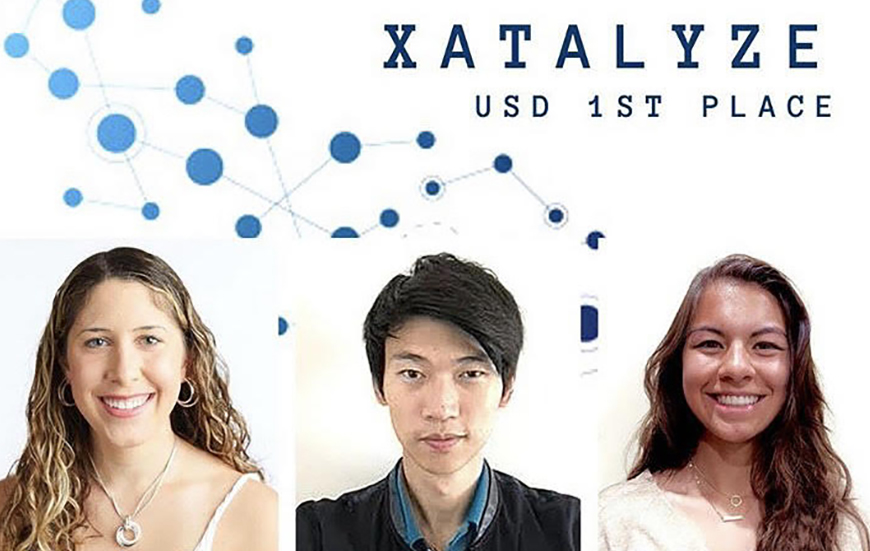 Xatalyze, a USD finalist competing in the Fowler Global Social Innovation Challenge is, from left to right: Rylee Bers, Jarvis Lu and Kyla Knauf.