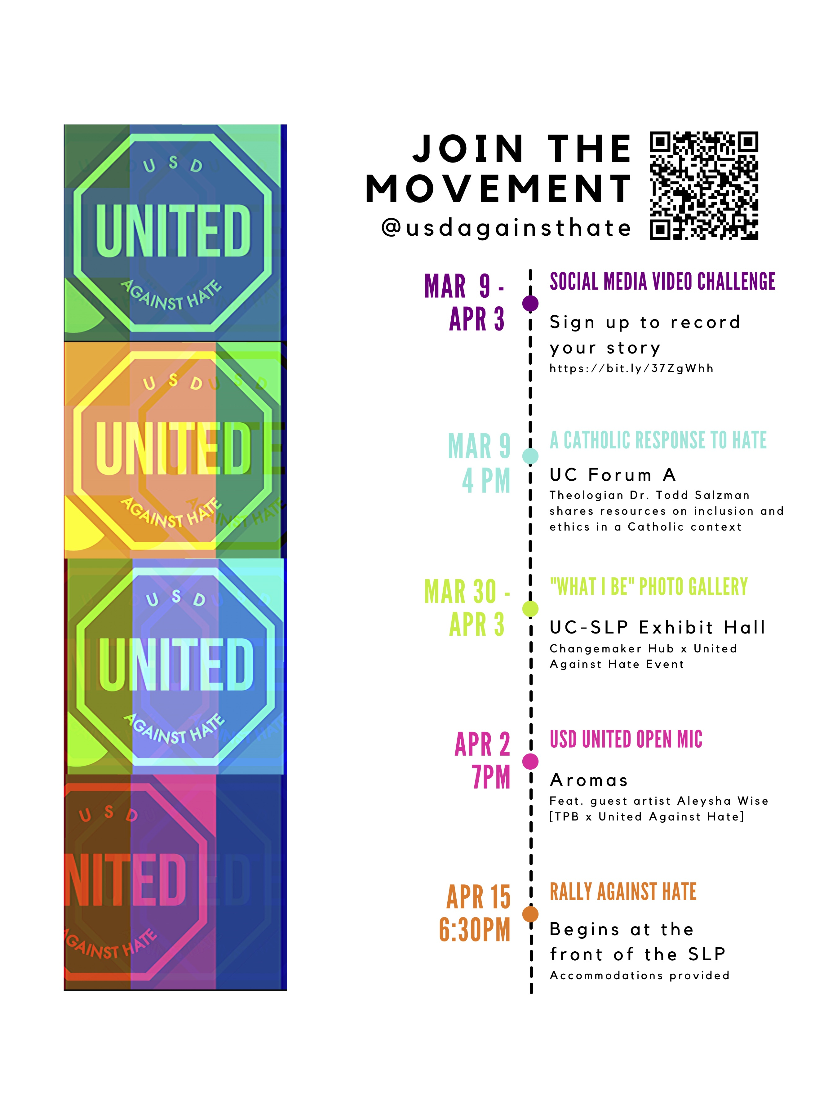 USD United Against Hate Event Timeline