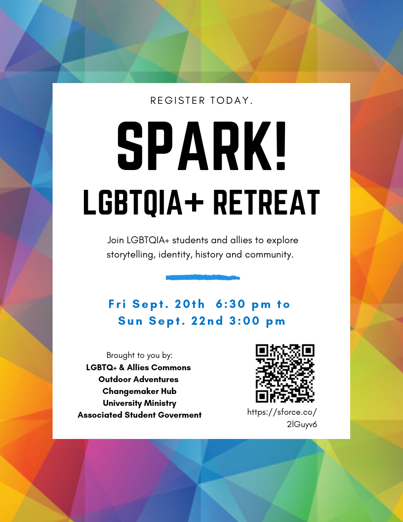 Image reads 'Register today: Spark Retreat: Sept. 20th - 22nd'