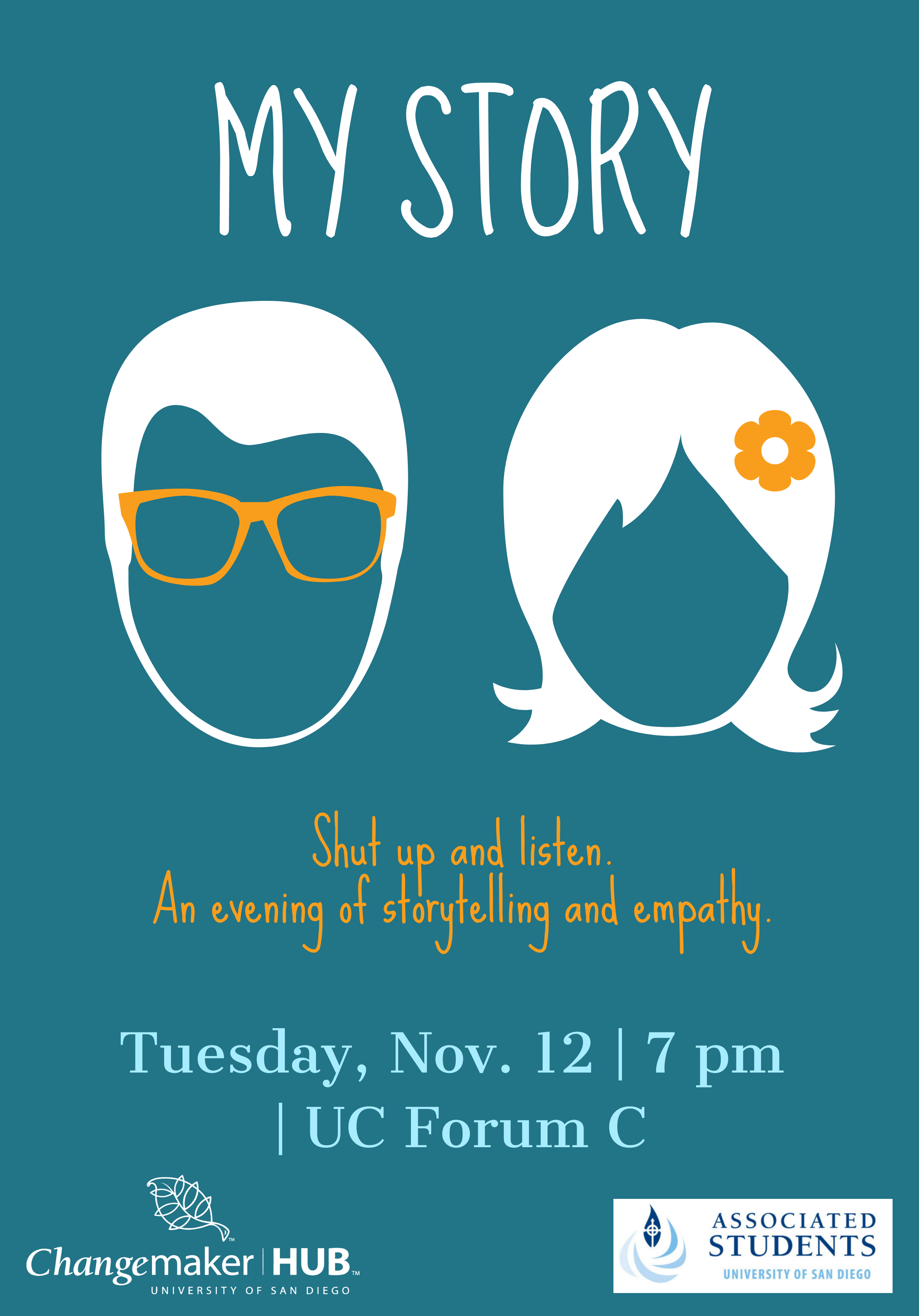 image of two silhouettes a man and a woman, info event Nov 12 7pm