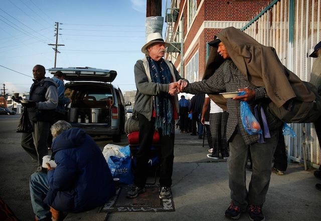 Jeff Dietrich giving out food to the homeless