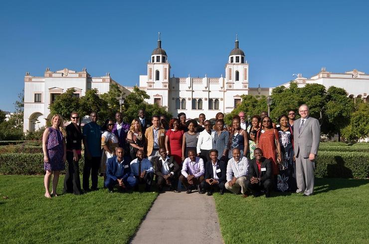 President Harris with Mandela Fellows