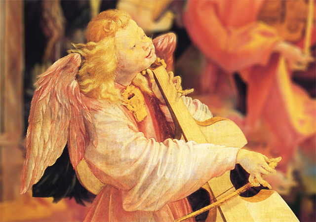 Painting of Angel Playing String Instrument