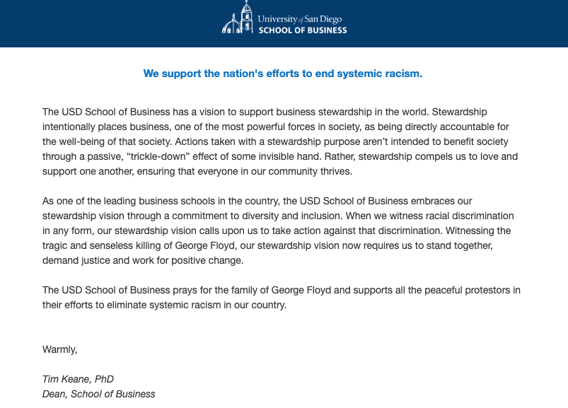 University of San Diego School of Business dean's message on ending systemic racism