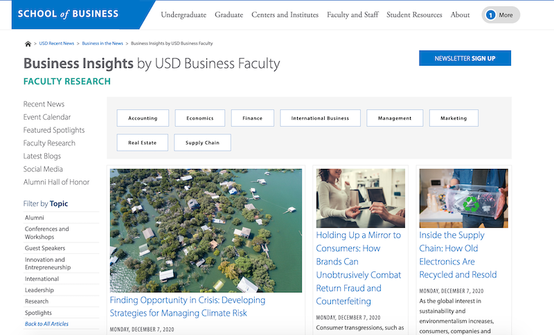 Business Insights by USD Business Faculty Research Hub
