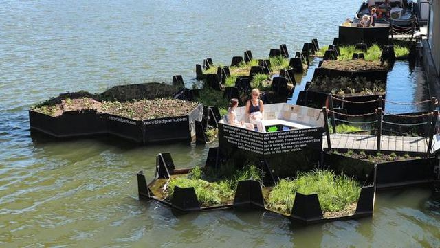 Meant to draw attention to plastic river pollution, Rotterdam's Recycled Park is also a nice new spot for local residents, human or otherwise, to hang out. (Photo: The Recycled Island Foundation)