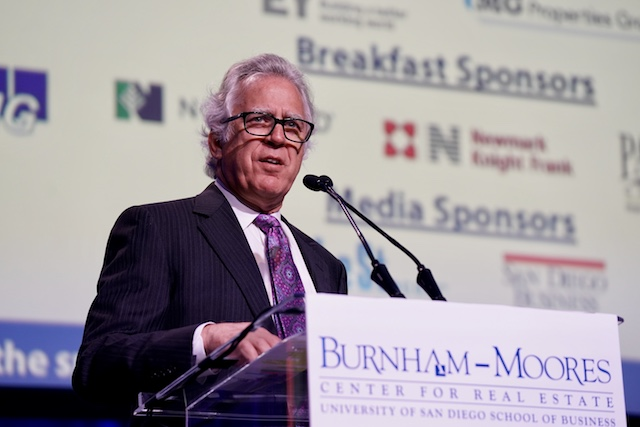 Stath Karras, executive director of the Burnham-Moores Center for Real Estate at the podium at the 23rd Annual Real Estate Conference