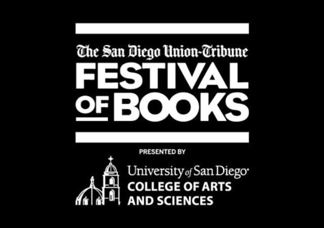 Black background with white font of logo of the San Diego Union Tribune Festival of Books and the University of San Diego College of Arts and Sciences