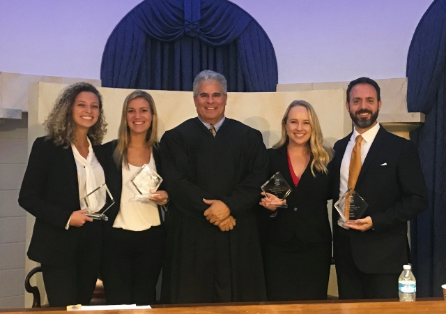 Madison Gottfredson (3L),  Morgan Chase (3L), Judge Ken Medel,  Ashley Barton (3L) and Ken Ely (3L)