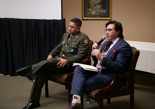 Marcelo Diaz, a representative from the Folke Bernadotte Academy, the Swedish Agency for Peace, Security and Development speaks to the audience in the IPJ on Monday.