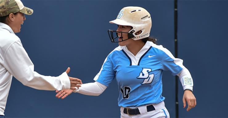 Sophomore shortstop Sara Silveyra went 2-for-3 with three RBI in USD softball's 7-4 win over Wisconsin on Sunday at the Wildcat Invitational.