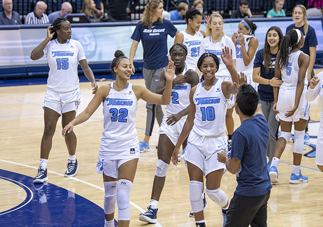 USD women's basketball players giving high fives