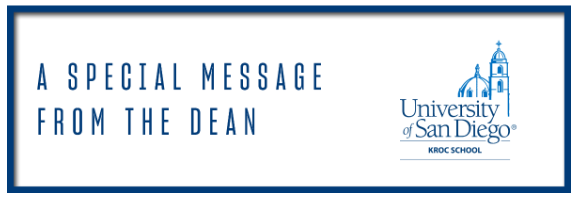 Special Message from the Dean