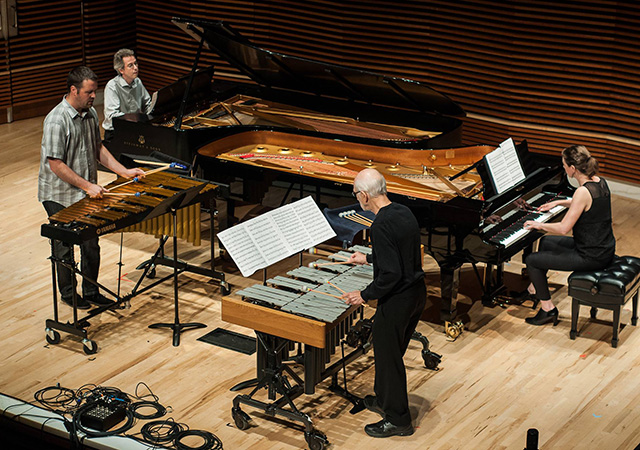 Pianists Christopher Adler and Andrea Lodge, and Percussionists Andy Bliss and Russ Hartenberger performing Quartet, by Steve Reich. Photo by Fistful of Tigers.
