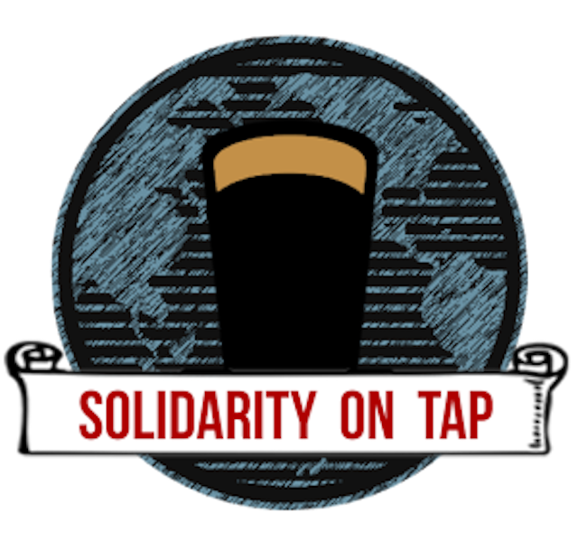 logo of beer glass with words Solidarity on Tap