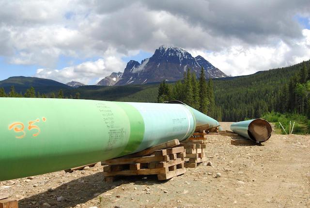 Keystone Pipeline construction site in mountain region