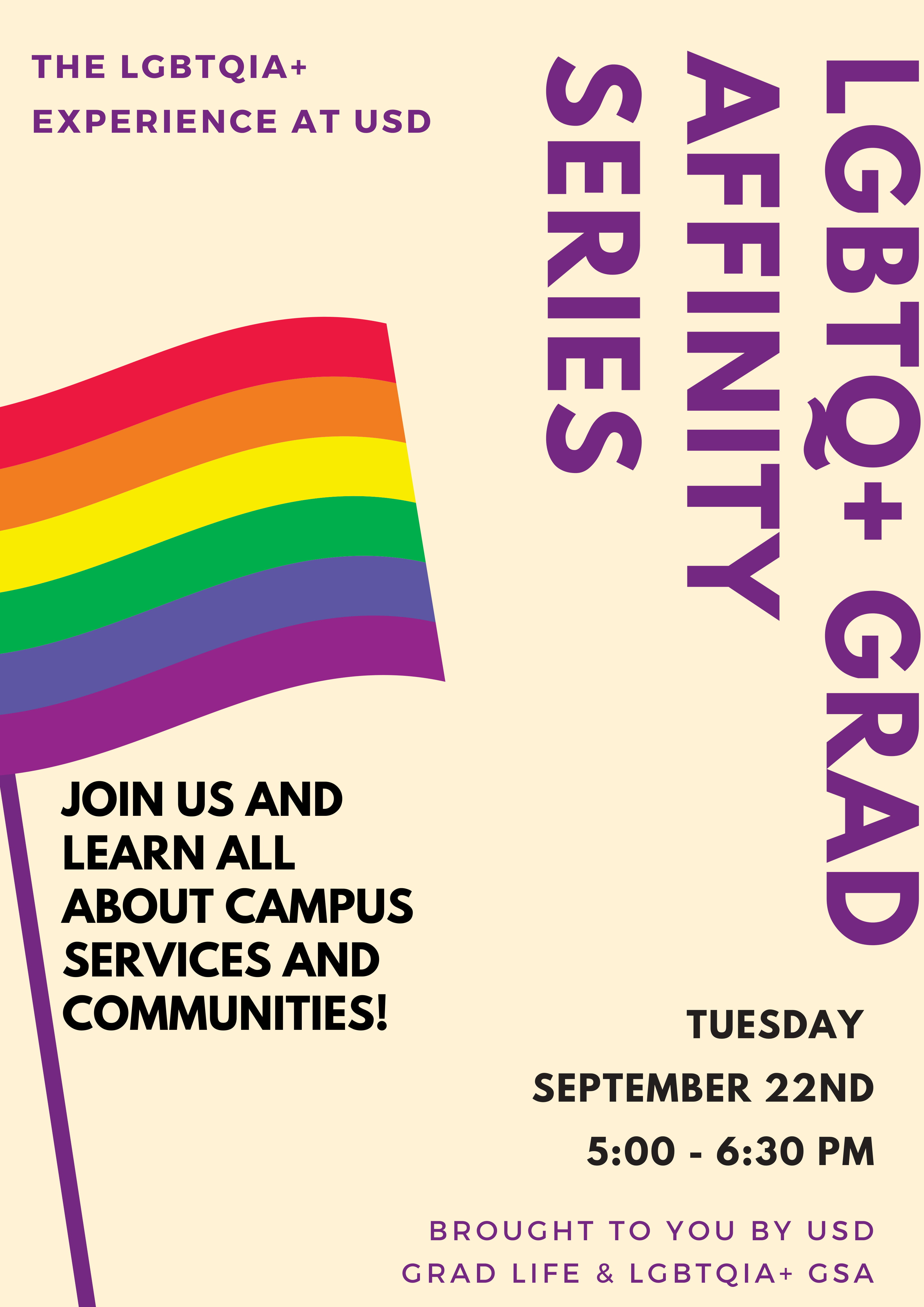 Event flyer - pale background with pride flag