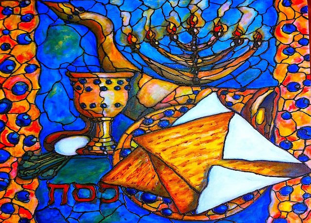 Artistic rendition of the Passover symbols