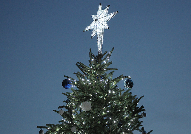 The star on the USD Christmas Tree shines bright during the 2019 lighting ceremony. The 2020 event is virtual on Dec. 1.