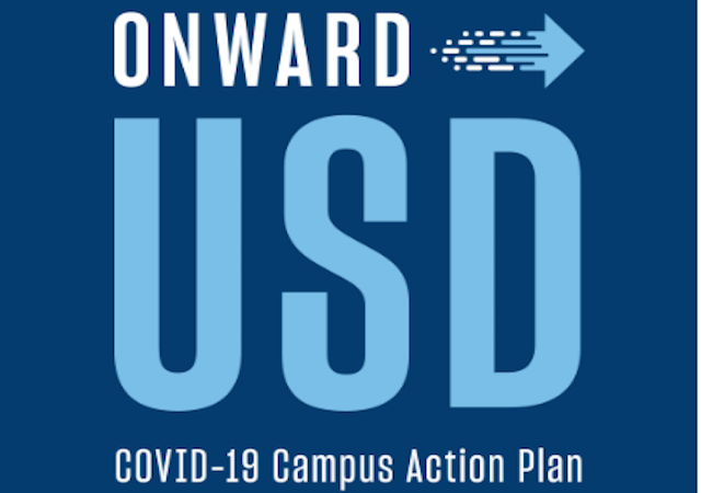Onward USD logo in blue with arrow