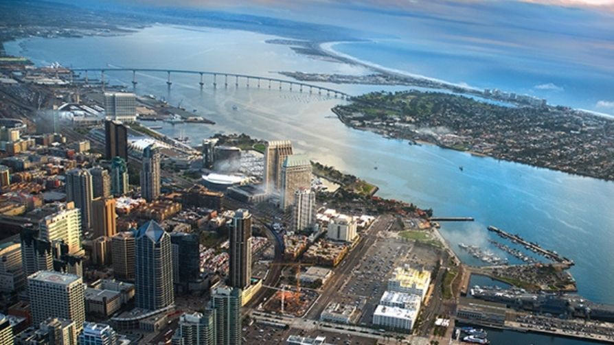 Birds eye view of San Diego skyline