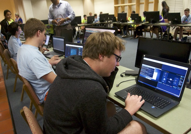 Cyber students at computers