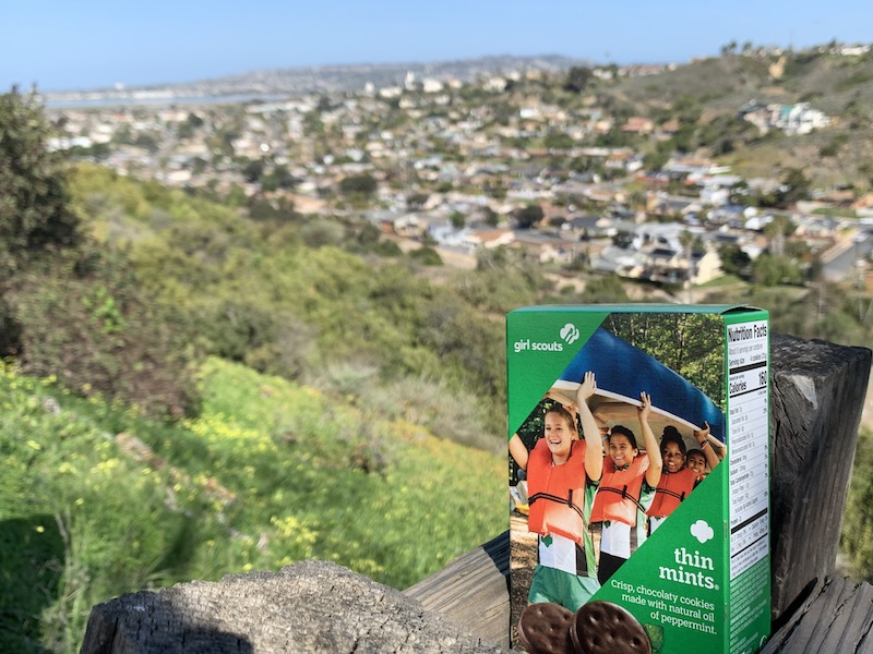 Girl Scout cookie box overlooking San Diego bay from University of San Diego