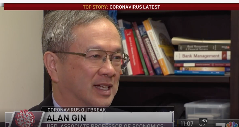 University of San Diego Professor of Economics, Alan Gin, talks about coronavirus' economic impacts on NBC San Diego
