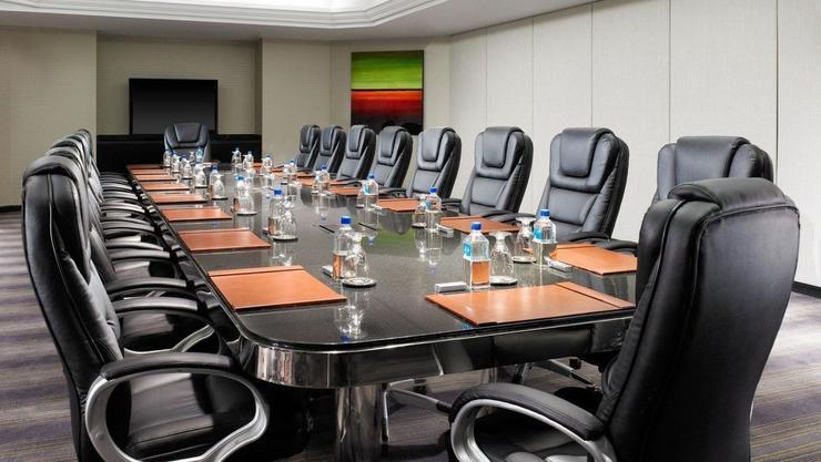 An empty corporate boardroom