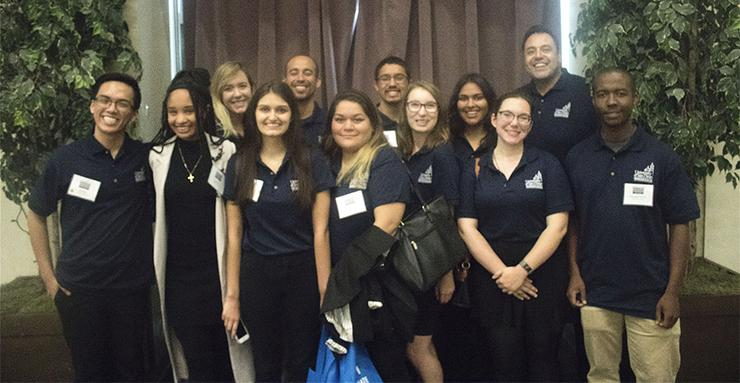 University of San Diego students in the TRiO McNair Scholars program, along with USD Director Ramiro Frausto (top row, far right), presented their research at the UCSD Summer Research Conference.
