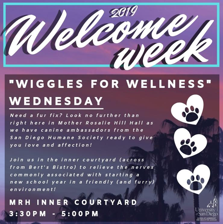 Wiggles for Wellness is happening at the inner courtyard of Mother Rosalie Hill Hall on September 11th at 3:30pm