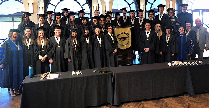 The 2019-20 Alcala Chapter of Mortar Board gathered in this 2019 initiation event file photo. On Sunday, the organization honored its graduating seniors and had alum Jonny Kim as a guest speaker.