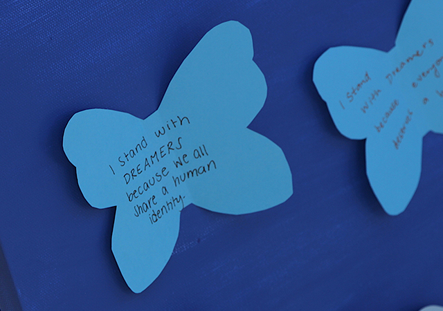 A message of support and in solidarity was written on paper butterflies for an art project connected to a DACA Day of Action event on the USD campus on Tuesday.