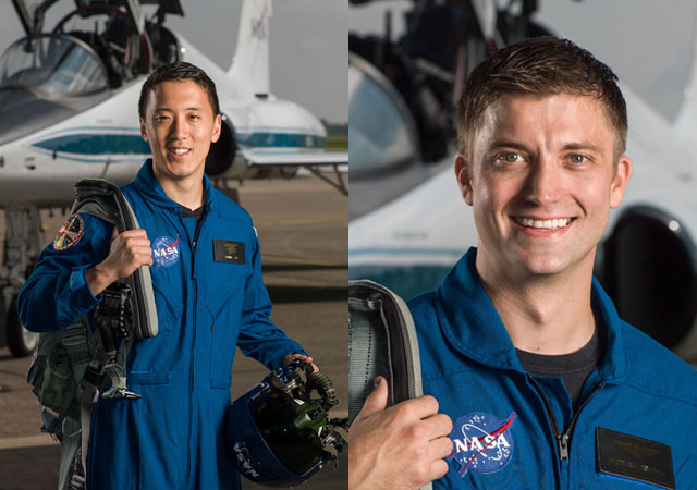 Johnny Kim and Matthew Dominick in NASA training photo