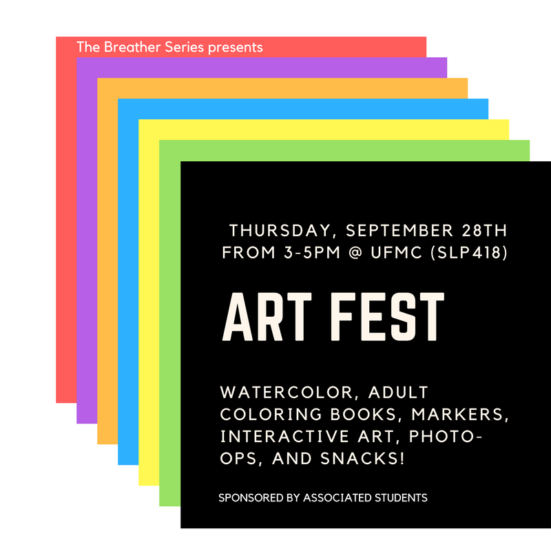 Swing by the UFMC to enjoy some interactive wall art and take a breather while watercoloring on textured paper. Sponsored by Associated Students.