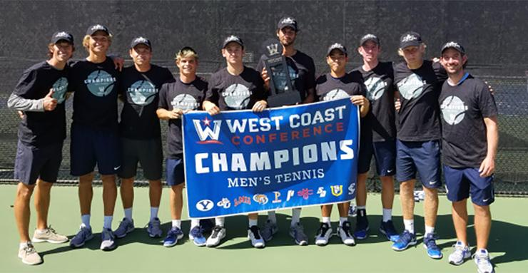 The University of San Diego men's tennis team defeated Saint Mary's April 21 to clinch the West Coast Conference regular-season team championship. The Toreros play in the WCC Tournament this weekend.