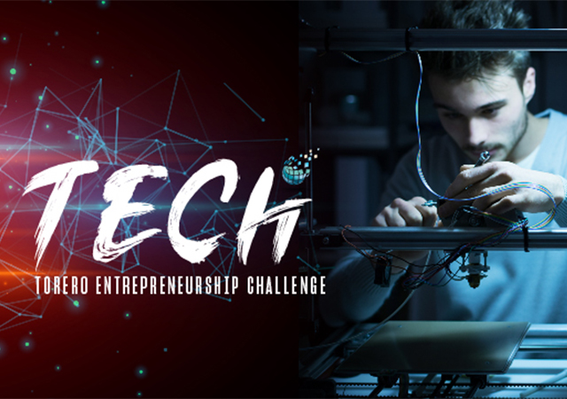Torero Entrepreneurship Challenge (TECh) icon with person at machining equipment