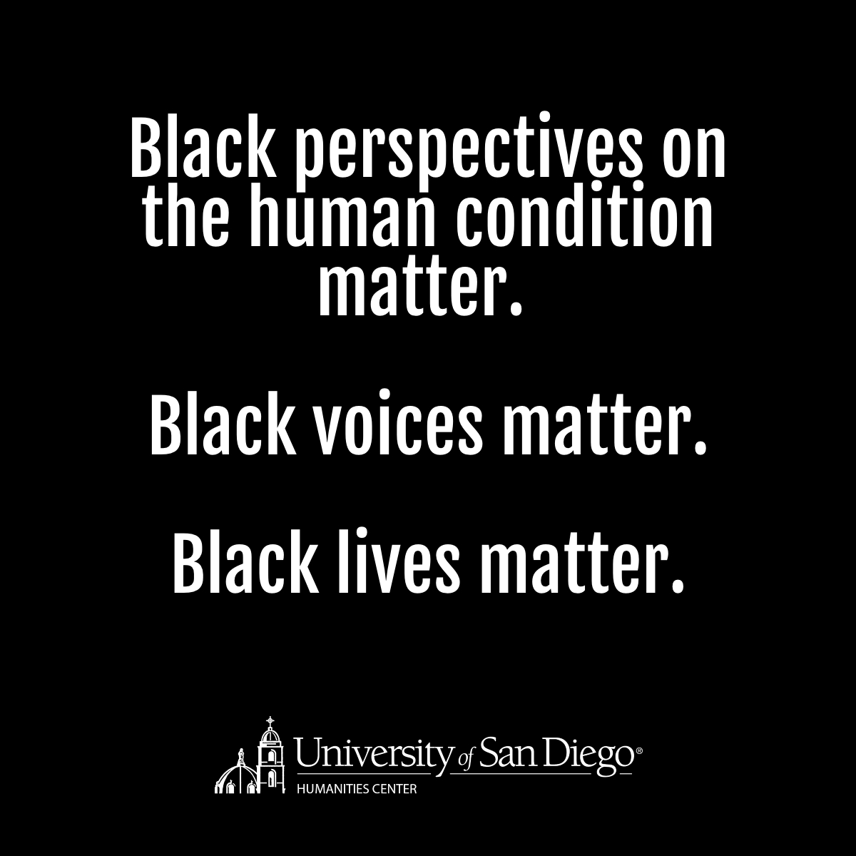 Black box with white text stating  Black perspectives on the human condition matter. Black voices matter. Black lives matter.