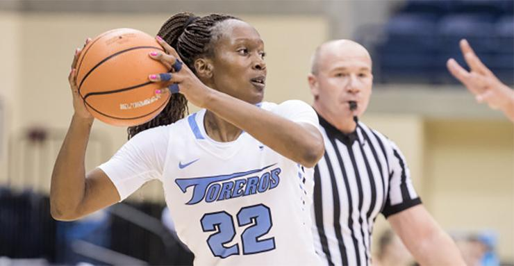 USD women's basketball player Maya Hood, with 867 career rebounds, needs two to become the program's all-time leader in this statistical category.