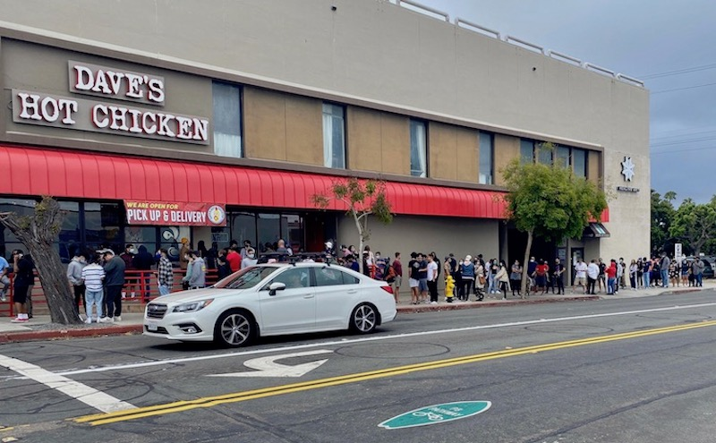 Dave's Hot Chicken in Pacific Beach opened on May 20, 2020 with a line out the door.