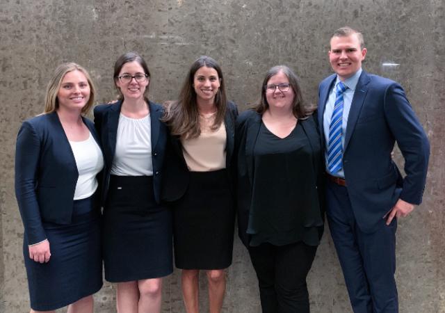 Maura Duffey (3L), Meghan Crumm (2L), Melisa McKellar, Sarah Early (3L), and Joseph Markus (3L)